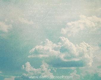 Cloud Photography, Cloud Wall Art, Blue Wall Art, Blue Wall Decor, Sky Photo, Shabby Chic Wall Art, French Cottage Decor, Cloud Decor