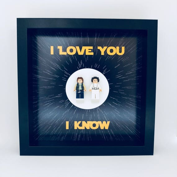 "Han Solo & Princess Leia ""I Love You, I Know"" 2PC Minifigure Frame"