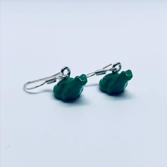 Multi Colour Frog Dropdown Earrings