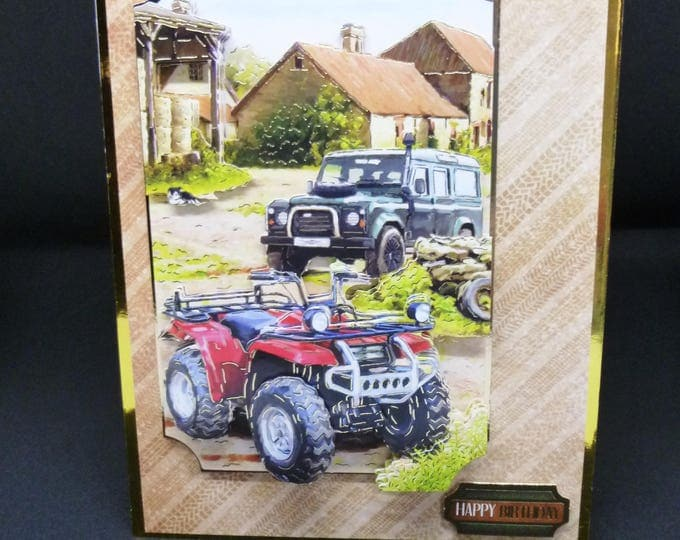 Male Handmade 3D Decoupage Card, Farm Yard, 4 x 4 Vehicles, Country Scene, Farming Scene, Male Card, Birthday Card, Greeting Card, Any Age