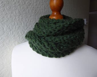 Luxury extra chunky hand knitted leaf green fringed scarf in a premium alpaca, wool and acrylic yarn
