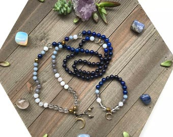 Lunar Set - Cresent Moon Mala and Bracelet Set Featuring: Blue Goldstone, Lapis Lazuli, Clear Crystal Quartz, 24k Gold Moon Charm 108 Gemsto