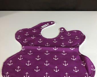Purple Anchor Toddler Smock/ Bib