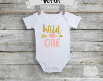 Wild One Bodysuit Iron On - One Birthday Iron On - One Year Old - First Birthday - Birthday DIY - Gold First Birthday - Pink - DIY Birthday