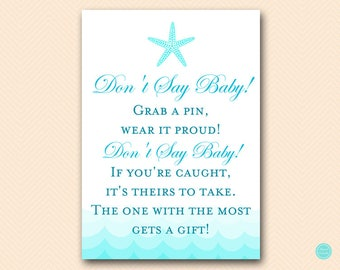 Dont Say Baby Pin Game, Baby Shower pin game, Beach Baby Shower Games Printable, Starfish Baby Shower, Sea Waves, Download TLC09