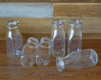 6 Vintage milk bottles - Set of vintage glasses - Rustic decor - Collectible milk bottles - 250 ml - small bottles A