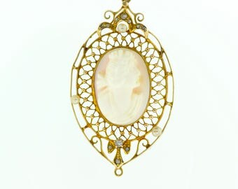 Victorian Era 10k Coral Cameo and Seed Pearl Pendant