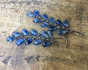 Rustic Jewelry . Blue Kyanite Stones dainty earrings a98.  smooth Kyanite drops . sterling silver chain . oxidized metal . artisan gemstones