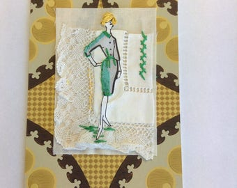Vintage fashion artwork - mixed media collage