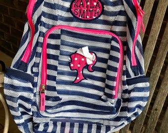 Monogrammed Backpack | Mesh Backpack | Back to School | Girls Backpack | Barbie Backpack | Book Bag | Kids Backpack | Ponytail Girl | Barbie