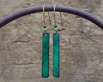 Boucles d'oreilles rectangulaires vertes