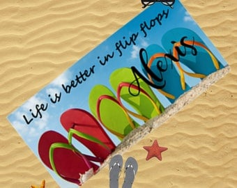 Personalized Beach Towel, Personalized Photo Beach Towel, Personalized Bath Towel, Beach Towel, Beach Blanket, Flip Flop Towel, Gift