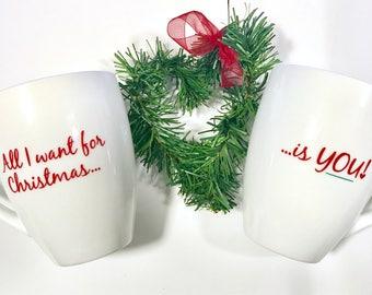 All I want for Christmas is You Mug set, Couple Mug Set, Christmas Mugs, Engagement Gift,Fun Christmas Cup, Christmas mug, Secret Santa