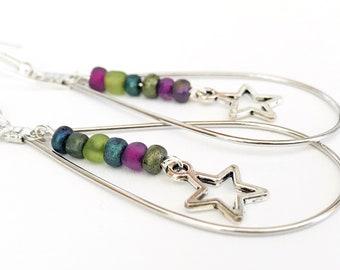 teardrop earrings silver, statement earrings boho, jewelry handmade, earrings handmade, purple and silver earrings, mom gift, Mother's Day
