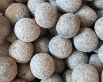 Wool Dryer Balls - 12 Large Natural Grey Wool Dryer Balls - Dryer Ball Set - Wool felt Balls - Great For Cloth Diapers - Felted Dryer Balls