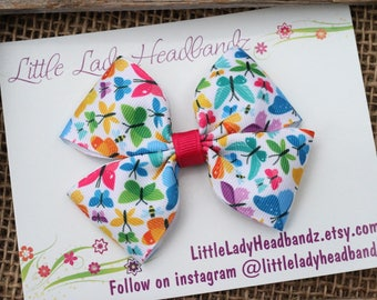 Butterfly Bow Boutique Bow butterfly hair bow girls ribbon bow large bow
