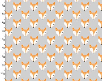 Forest Friends, fox fabric, fox faces on a grey background, by 3 Wishes, 11732