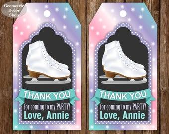 Ice Skating Thank you cards Ice Skates Favor tags digital gift Decoration birthday printable DIY Pink Purple Aqua Green card tag Girl FTIS1