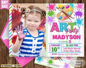 Painting Party Invitation, Art Party Invitation, Art Birthday Party Invitation, Art Themed Party, Paint Party Invites, Painting Party Paint2