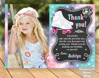 Thank you / card / Birthday / Party / cards / Roller skating / Digital / Girl  / Pink / Purple / Aqua / photograph / photo / Printable THRS1