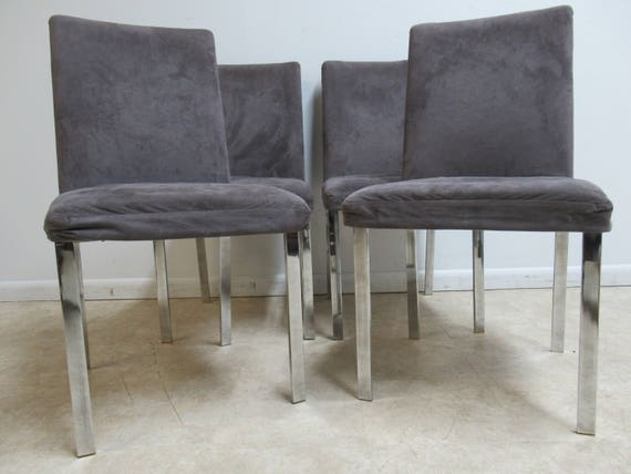 4 Vintage Mid Century Chrome Flat Stock Dining Room Side Chairs