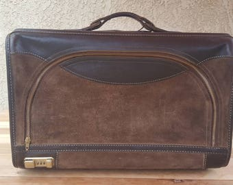 Vintage BENCH MADE FRENCH California casual luggage Brown leather/brown suede