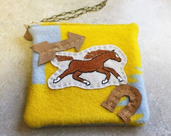 Hand Embroidered Western Wool Wristlet-Wild Horse and Horseshoe Arrow-Cell Phone-Money Holder-gift for her
