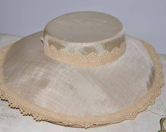 Vintage Ivory Wide Brim Hat, Women's Ivory Wide Brimmed Hat, Ivory Wide Brim Hat, Vintage Linen Hat, Linen Wide Brim Hat, Ivory Linen Hat
