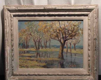 Shabby Chic trees orchard water landscape R. Novak plein air oil painting