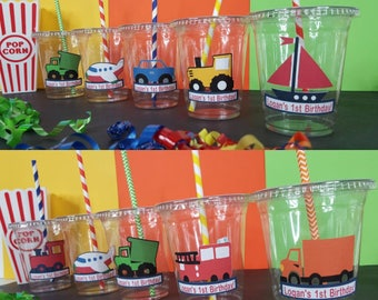 12 Personalized Transporation themed Party with Straws and Lids!, Car Party Cups