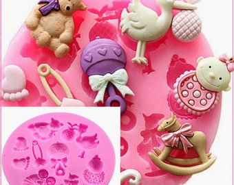 Party stroller hand bottle Trojan Baby Shower silicone mold soap, chocolate fondant cake decoration tool baking