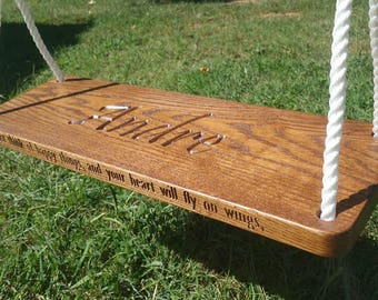 Tree Swing Solid Oak Personalized Edge and Seat