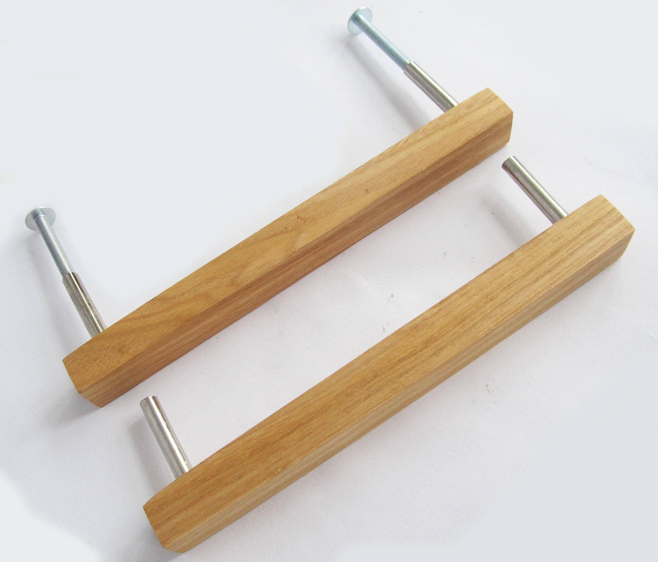 Wooden drawer pulls set of oak wood handles