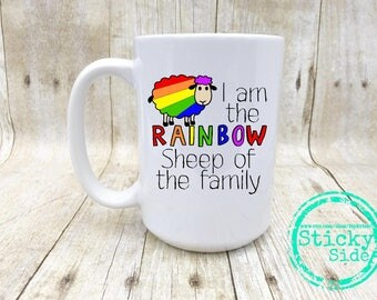 Rainbow Sheep Mug, Lesbian Mug, Sheep Mug, Gay Pride Mug, Rainbow Mug, LGBT Mug, Gay Coffee Mug, LGBTQ Coffee Mug, Gay Pride Coffee Mug