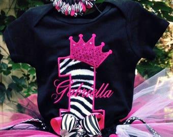 Pink and Zebra Princess Crown 1st Birthday Personalized Onesie Princess Birthday Outfit Princess 1st Birthday Shirt