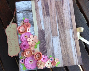 "Wedding album TEMPLATE ""SCARLETT"" with 3D flowers"