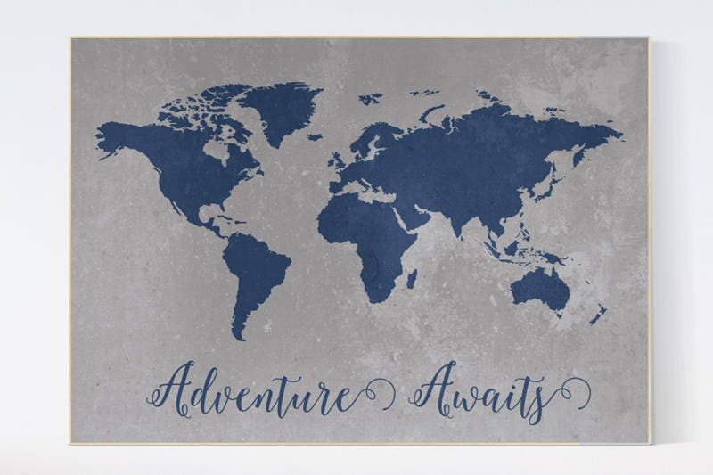 Navy gray world map poster adventure awaits world map nursery navy gray world map poster adventure awaits world map nursery navy grey world map navy nursery boys room decor nursery decor map gumiabroncs Image collections