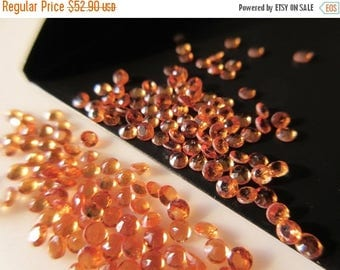 ON SALE 50% 60 Pieces 2mm Faceted Round Hessonite Garnet Gemstone Cabochons, Loose Cabochons, Garnet Cabochons, Each, SKU-Rcl19