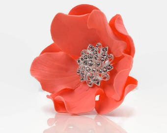 Coral Sugar Flower with Silver Crystal Brooch Center