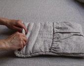 2 pcs. Transforming travel pillow. Roll up linen pillow, organic wool filled. Road cushion. Travel neck pillow.