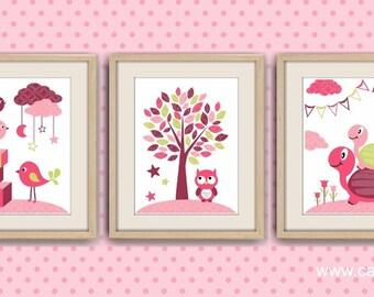 Poster kids room decoration nursery decor baby room kids Wall illustration turtle baby bird nursery pink n5