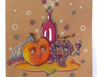 """Apple and grape Union"" wedding card designed and hand - colored Sabrina RIGGIO"
