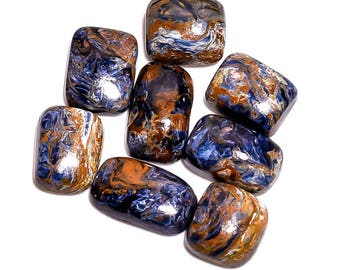 8 Pieces Natural Pietersite Cabochons Lot 8x11mm to 9x14mm Cushion Shape Genuine Pietersite Gemstones Loose Stone Smooth Stones Gems Cabs
