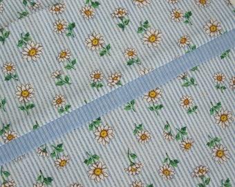 PILLOW CASE - Floral White Daisy Blue Stripe Patten Flowers - 1 Pillow Case