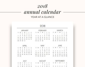 2018 Annual Printable Planner Page, Planner Inserts, Annual 2018, Printable Calendar, Year At A Glance Printable