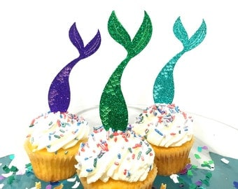 Glitter Mermaid Cupcake Toppers | Under the Sea Cupcake Toppers | Underwater Cupcake Toppers | Seashell Cupcake Picks | Mermaid Tail Cupcake
