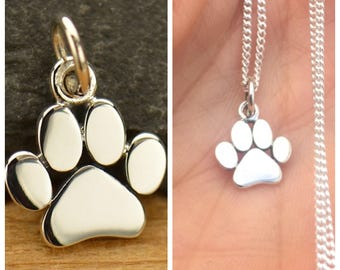 925 Sterling Silver Paw Charm Necklace Dog Paw Cat Paw Animal Lover Pendant Kitty Puppy Vet Groomer Honor Pet Pets Gift 1628