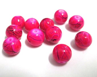 10 pink, black round glass beads painted 8mm