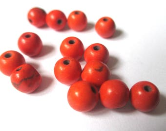 30 turquoise synthetic howlite 6mm orange beads