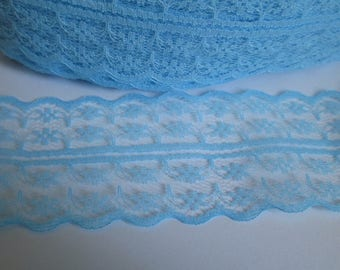 1 meter Ribbon sky blue lace fine lined 40mm